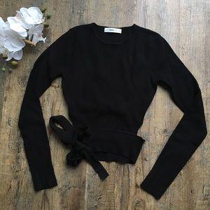 Zara knit black longsleeve top waist tie M